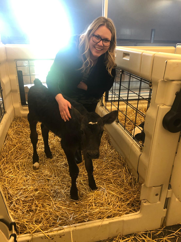 Amanda with black baby calf