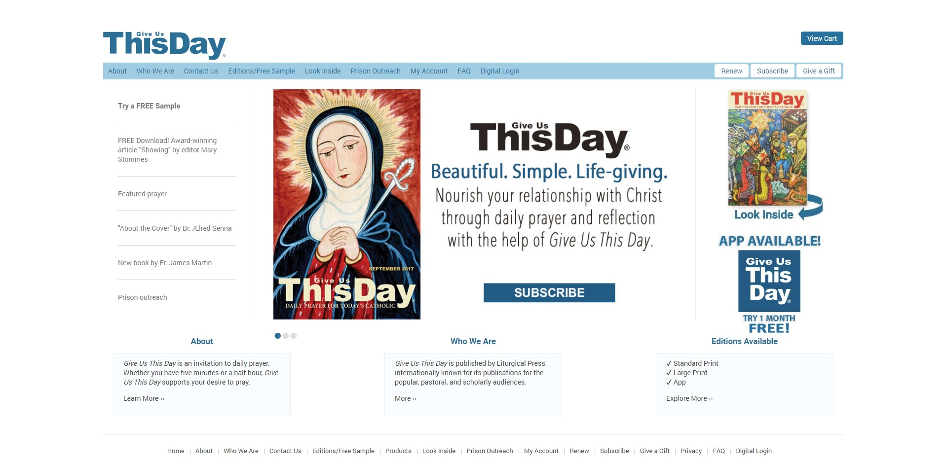 Old Give Us This Day Website Homepage