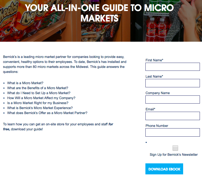 Bernick's Micro Market Landing Page