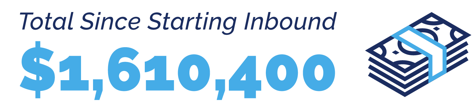 $1,610,400 Total Since Starting Inbound