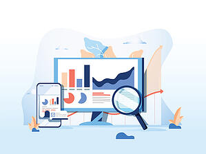 Illustrated image of desktop and mobile data platforms