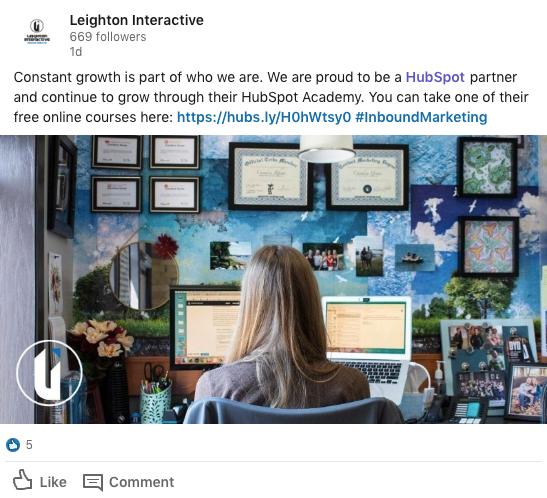 Image of a Leighton Interactive LinkedIn post