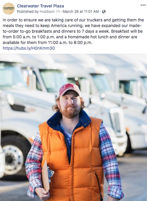 Clearwater Travel Plaza Facebook post on expanded truck meal hours