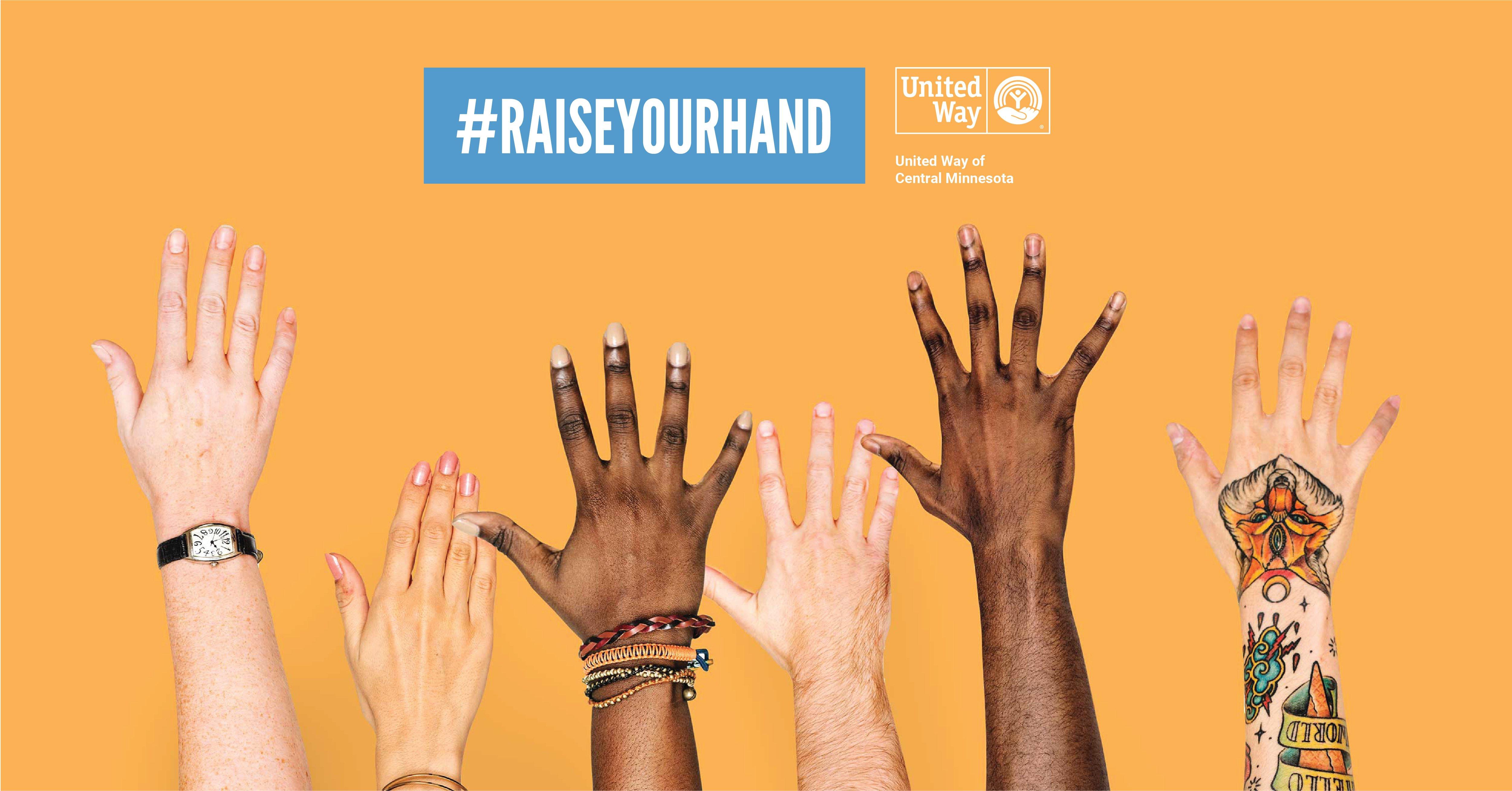 #RaiseYourHand United Way of Central Minnesota graphic