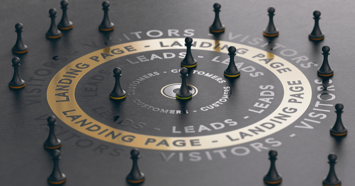 Image of a the word landing page in a circle around chess pieces