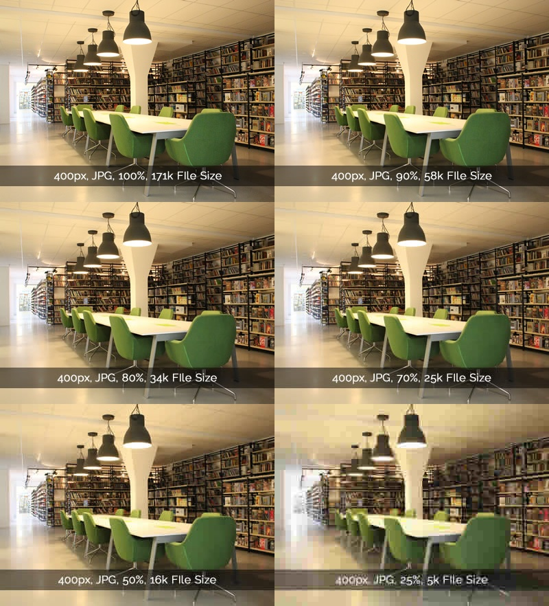 Library with green chairs. Optimize images for SEO - JPG Example.