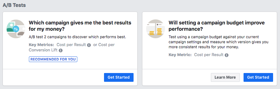 A/B Facebook ads options