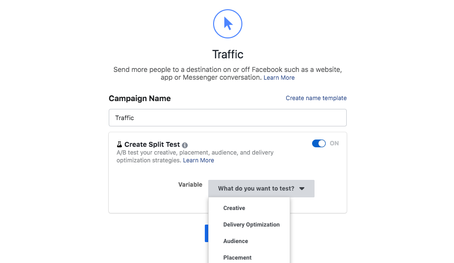 Facebook A/B Traffic campaign test