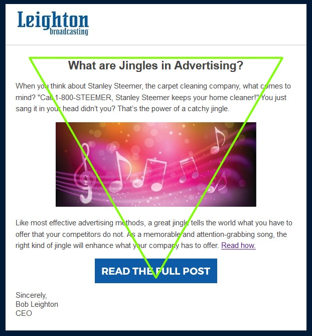 Optimize Your Email Click Through Rate: Example 2, The Inverted Pyramid