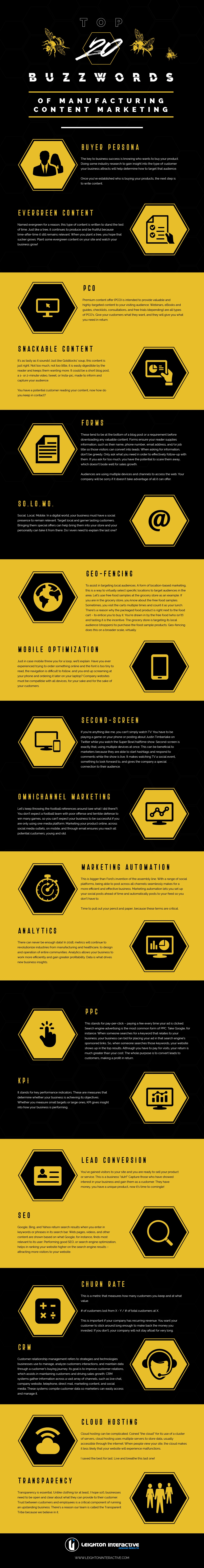 Top 20 Buzzwords of Manufacturing Content Marketing (Infographic)