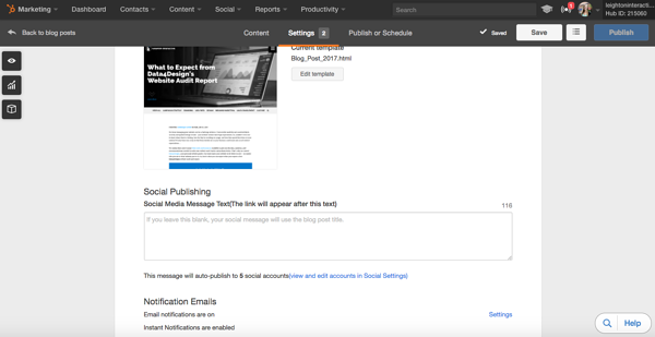 HubSpot Social Publishing Tool for Blogs