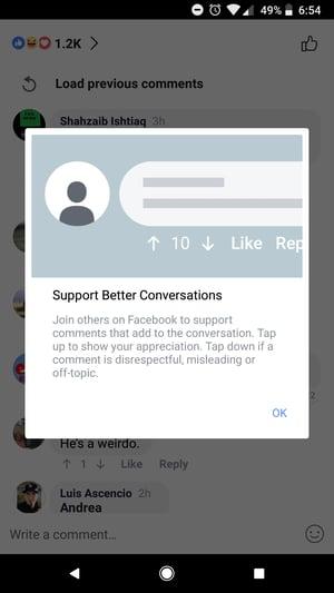 Facebook's Update Release Message